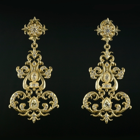 Wrought iron influenced diamond chandelier earrings