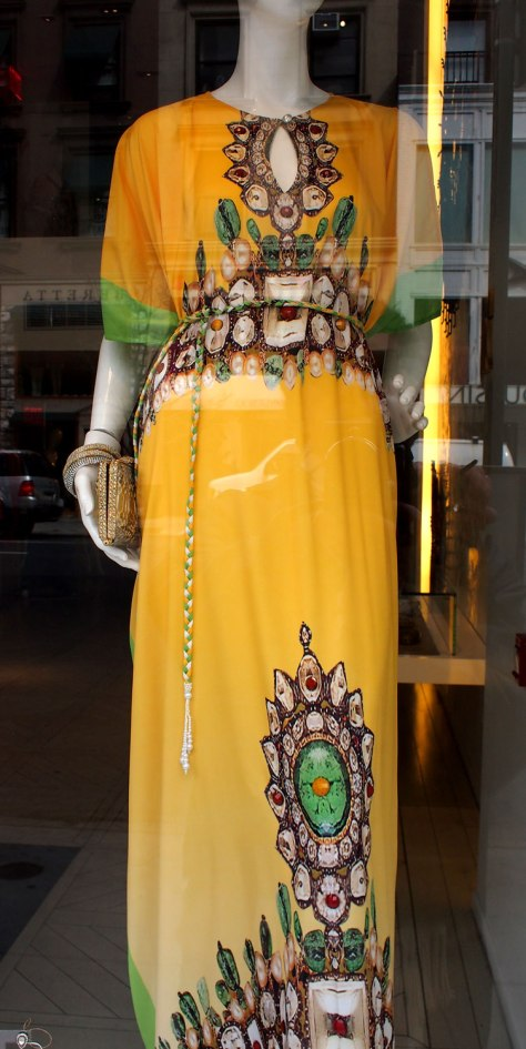 60's resort style maxi dress in the window of Roberto Cavalli
